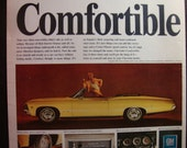 Vintage Magazine Original Promo Ad 1960's Chevy Impala SS Convertible Yellow- Great for Framing