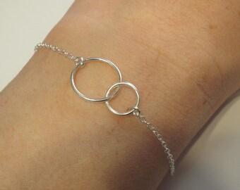 Karma Double Circle Bracelet Sterling Silver Eternity Two Circles Bracelet Infinity Karma 925 Jewelry dainty silver bracelet