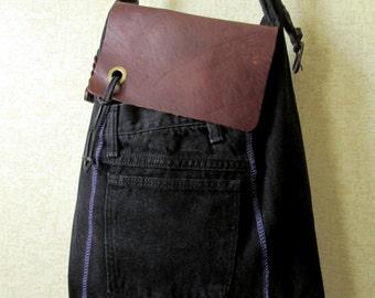 Satchel Tote Bag black denim & leather messenger bag bookbag market library bag hipster shoulder bag upcycled recycled fabric purse