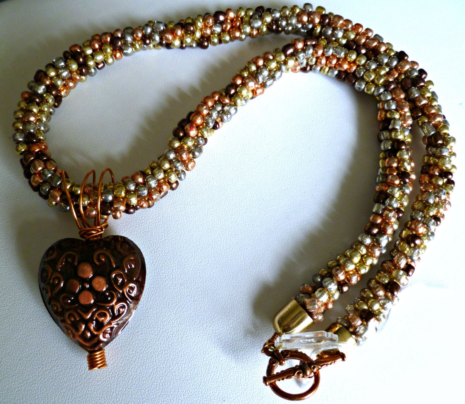 beaded kumihimo necklace copper multi with by thebeckoningcat