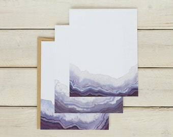Purple Geode Stationery, Geode Note Cards, Purple Stationery, Stationary, Watercolor Stationary, Fun Notecards, Notecards Set of 12