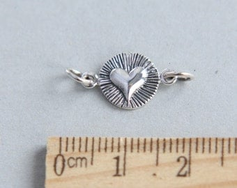 Tiny Sterling Silver Heart , Heart Charm, 925 Sterling Silver Heart Link, Small Heart Charm, Heart Link, Heart connector, 9.5mm ( 1 piece )