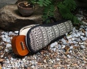 Soprano ukulele case - Black and white Ukelele Case with hidden pocket (Made to order)