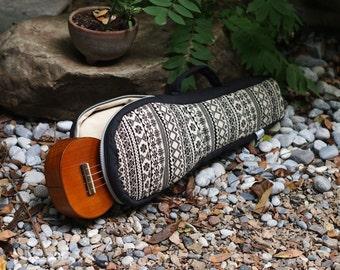 Soprano ukulele case - Black and white Ukelele Case with hidden pocket (Ready to ship[)