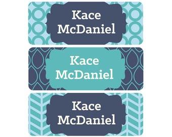 School Labels, School Name Labels, Waterproof School Labels, School Labels, Daycare Name Labels, Boy, Navy, Blue, Modern Prints, Herringbone