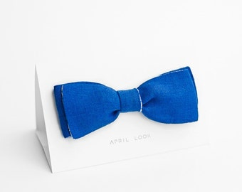 Royal blue bow tie, groomsmen bow tie - double sided bow tie