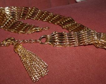 VINTAGE MOD TASSEL Chain Belt, 1960's, '70's Hippie Tassle Belt