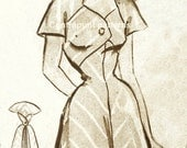 1950s dress pattern with timeless trapezium neck line.
