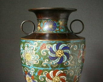 Antique Champleve cloisonne vase, Asian lamp vase, Bronze and enamel vase early 1900's