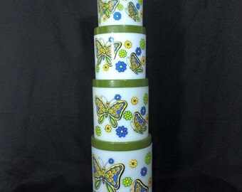 Groovy Butterfly Nesting Canisters // 1960s 1970s // Set of Four