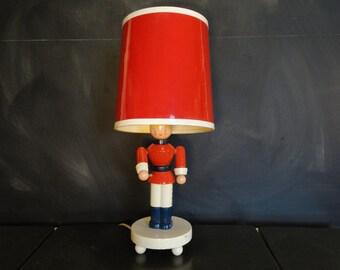 Vintage Irmi Nursery Originals Wooden Lamp-Toy Soldier-Nursery Plastics-Red White Blue-Childs Room Nursery Decor