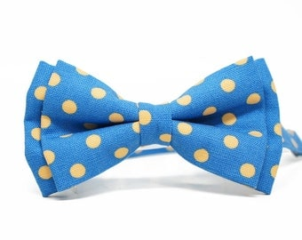 Yellow polka dot blue bowtie, roger rabit bow tie - adjustable pre-tied for adult, Boys, Toddlers and Baby - wedding, ringbearer , groom