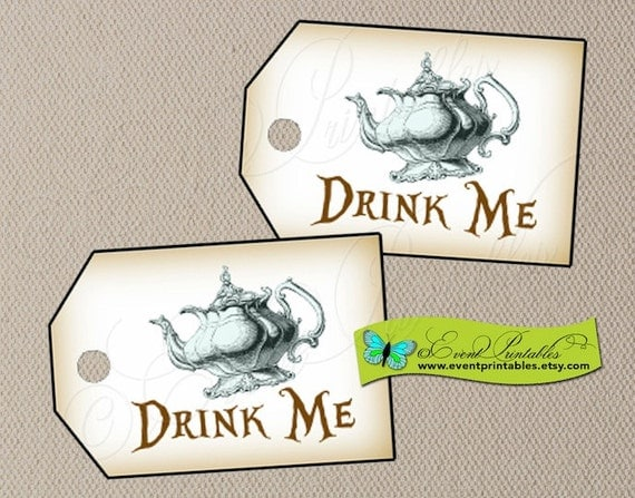 Alice in wonderland drink me tags tea party by eventprintables for Alice in wonderland tags template