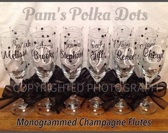 Personalized MONOGRAMMED CHAMPAGNE FLUTE Initial Monogram Polka Dots Bride Bridesmaid Bachelorette Wedding New Years Birthday  Party