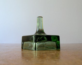 Vintage Dansk Green Glass Candle Holder