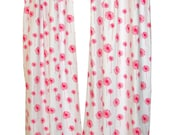 CLEARANCE- Lined Floral Curtains- Pair of Drapery Panels- Premier Prints Candy Pink Dandelion- 25x96 inch Drapes with Bronze Grommets