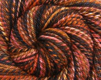 Bulky Weight Handspun Yarn - RUSTY GATE - Handpainted Fine Merino wool, 153 yards, gift for knitter, handspun weft yarn, Navajo plied yarn