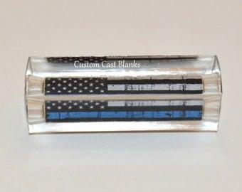 Thin blue line flag on pre brass tubed sierra or bolt action pen blanks