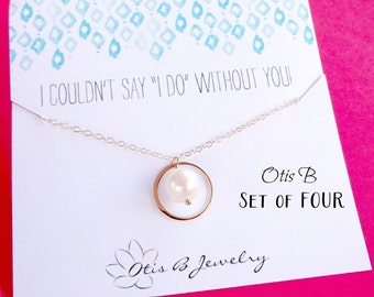 GOLD Bridesmaid Necklaces, Be My Bridesmaid cards with necklaces, SET of FOUR Bridesmaid gifts, Bridal Jewelry, Otis B Gift sets,