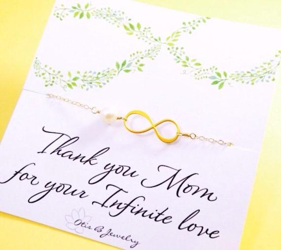 Infinity bracelet for mom, Mothers day gift, Mother of the bride gift, mother of the groom gift, Gold infinity bracelet, card for mom