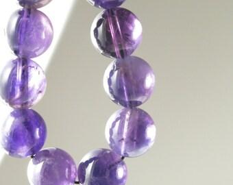 GREAT BARGAIN - originally 9.99 - Deep Purple Natural Amethyst Round Bead - 10mm  -  12 Pieces -  B3561