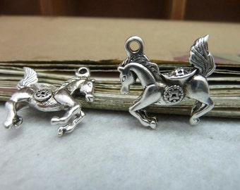 10pcs 4x21x22mm The Horse Silver White  Retro Pendant Charm For necklace Jewelry /Pendants C8092