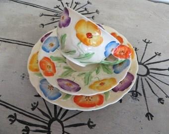 Tea Cup Grindley EnglandTea Cup Floral Teacup Hand Painted China Teacup Porcelain Tea Cup Flowers Tea Cup Vintage Teacup Poppies