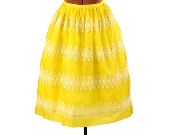 Vintage 1960's Lanz Bright Sunny Yellow Sheer Organza Ethnic Embroiderd High Waist Skirt S