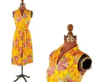 Vintage 1970's Bright Sunny Yellow Tropical Hibiscus Floral Print Boho Sun Dress M SALE