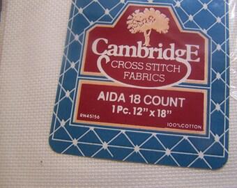 "18 Count 12"" x 18"" White Aida Cloth Cross Stitch Fabric NIP"