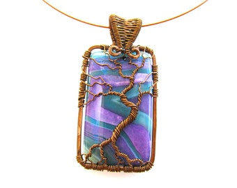 "Tree of Life Pendant  - Bright Purple & Teal Striped Agate Cabochon with Antique Bronze Wire - 1.5"" x 2.5"" - Cord Included"