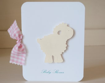 Sheep Lamb Girl Baby Shower Invitations Thank You Notes Pink Gingham