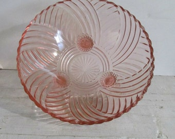 Anchor Hocking Footed Bowl, Pink Depression Glass, Deep Bowl, Geometric Pattern, 979 Prismatic Line. 1930, Serving, Home Decor