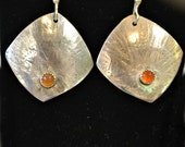 "Sterling silver and carnelian earrings. ""October"""