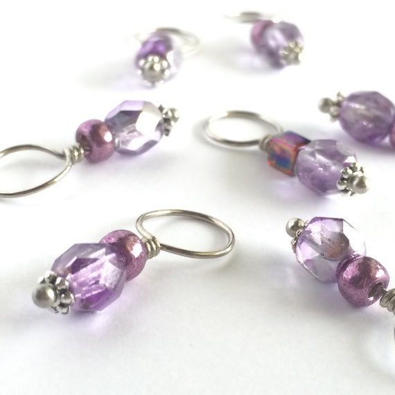 Decorative Knitting Stitch Markers : Stitch Markers Decorative Knitting Stitch Markers Purple