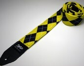 Handmade double padded argyle guitar strap - Maize and Blue - Blue and Gold