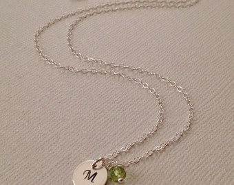 Tiny Initial Birthstone Personalized Necklace in Sterling Silver -Personalized Birthstone Necklace