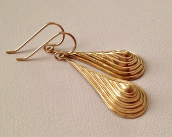 Gold Drops Earrings in Brass with Gold Fill Ear Wires