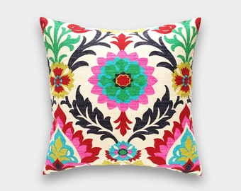 Waverly Desert Flower Decorative Throw Pillow Cover. 18 X 18. Pink, Red, Green, Yellow, Blue. Colorful Floral