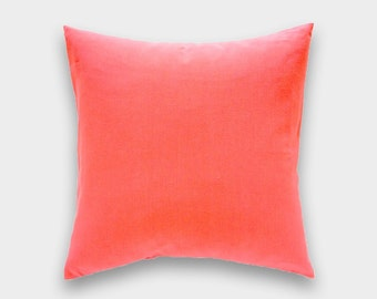 Solid Coral Pink Decorative Pillow Cover. All Sizes. Throw Pillow Cover. Coral Cushion