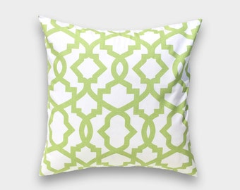 CLEARANCE Green Sheffield Throw Pillow Cover. Sheffield Geometric Cushion. 16X16 Inches. Kiwi Green Decorative Throw