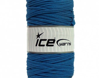 Blue T-shirt Yarn - 5 yards - Fabric Selvedge - Tricolette