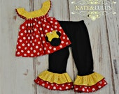 Girl Red yellow and Black Minnie Mouse Outfit - Minnie Mouse Birthday Outfit - Girls Birthday Outfit - Disney Trip outfit - pageant outfit