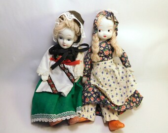 Vintage DOLLS Lot of 2, China Dolls, Swiss International and Country Prairie, Bendable - Posable Rope & Wire, Bonnets and Boots