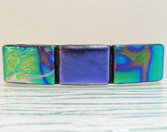 Small Dichroic Fused Glass Barrette Hair Barrette purple Green Barrette Under 25 Dollars Dichroic Jewelry Gifts for Her Under 20 Dollars