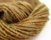"""Corespun Yarn- 51m, 33g, Handspun Art Yarn, Aran weight, Green """"Moorland"""""""