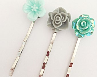 Flower Hair Pins - Flower Hair Grips - Grey and Aqua Grips - Hair Accessories - Hair Pin Set - Gift For Her