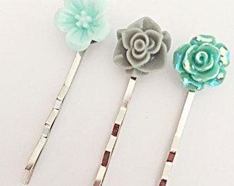 Flower Hair Pins - Flower Hair Grips - Grey and Aqua Grips - Hair Accessories - Hair Pin Set - Gift For Her