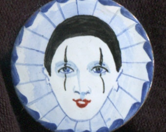 Vintage Hand-Painted Harlequin Pin