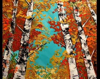 "Oil Landscape painting Abstract Original Modern 36"" palette knife Birch Trees oil  impasto oil painting by Nicolette Vaughan Horner"